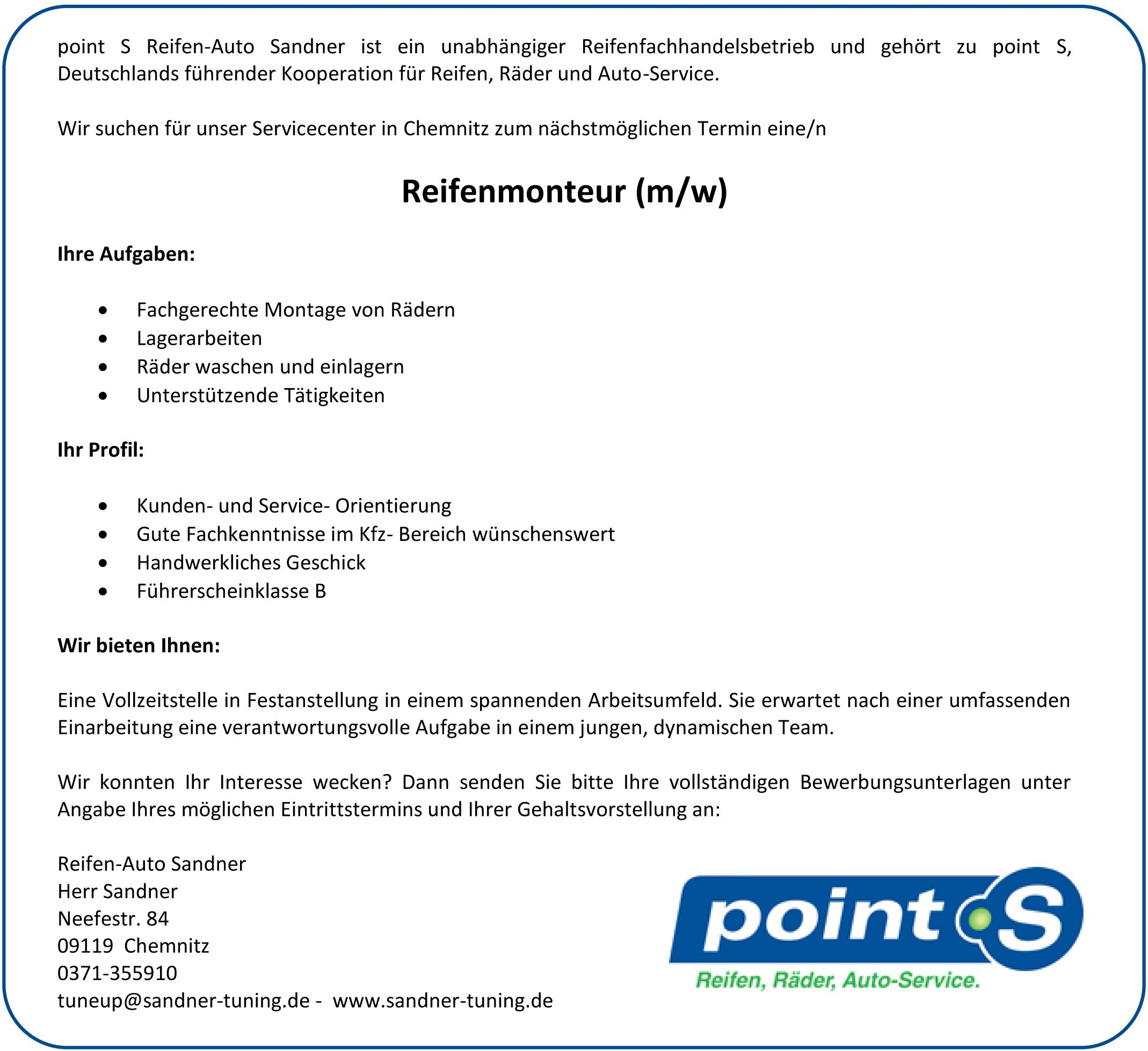 Reifenmonteur point S Sandner